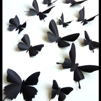 3D Wall Butterflies - 15 Assorted Black Butterfly Silhouettes, Home Decor, Nursery