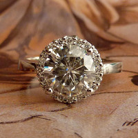 Round Moissanite and Diamond Halo Ring - 14k White Gold