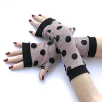 Pink Warm Super Soft Fingerless gloves with Black dots -  Arm Warmers Pink Polka dots Mittens Christmas