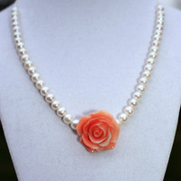 Freshwater Pearl and Coral Carved Rose Necklace