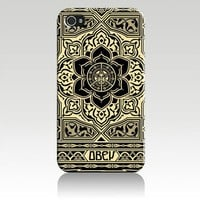 Obey Peace and Justice Ornament Hard Case Cover Skin for Iphone 4 4s Iphone4 At&amp;t Sprint Verizon Retail Packing
