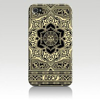 Obey Peace and Justice Ornament Hard Case Cover Skin for Iphone 4 4s Iphone4 At&t Sprint Verizon Retail Packing