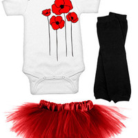Poppies One Piece, Red Tutu & Leg Warmers 3 Piece Set