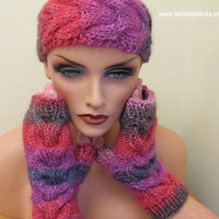 Fingerless Gloves and Headband, Hand Knit Fingerless Gloves, Headband, Pink, Purple, Red, Grey