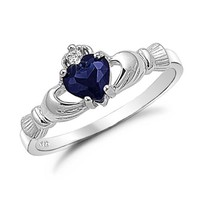 Sterling Silver Blue Sapphire Heart CZ Claddagh Ring Sizes 4 to 9, 4