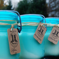 16oz Candle in blue antique mason jar with scent of choice