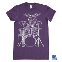 Womens Tshirt MOOSE with DRUMS - American Apparel T shirt - S M L XL (11 Colors Available)