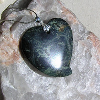 Green Kambaba Jasper Crystal Heart Pendant