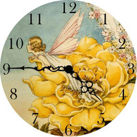 Yellow Flower Fairy Wall Clock by Vintage Artwork, Clocks, Decor for Girls