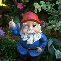 Garden Gnome Flipping The Bird Concrete Rude Gnome by PhenomeGNOME
