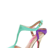 Betsey Johnson Blonddee Turquoise Multi T Strap Peep Toe Heels