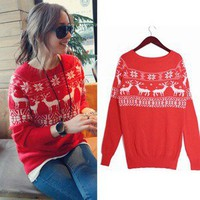Women Xmas Snow Deer Long Sleeve Sweater Jumpers Knitwear Casual Tops K295