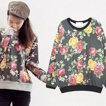 Korean Fashion Women Ladies VTG Floral Printed Jumper Tracksuit Top Sweatshirt