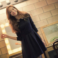 NWT Korean Fashion Sequins Collar Plastic Waist Pleated Dress