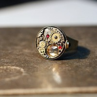 Steampunk/gothic adjustable unisex chronograph ring by DevilsJewel