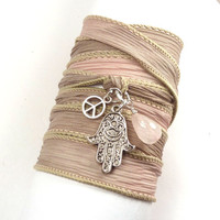 Silk Ribbon Wrap Bracelet with Hamsa, Peace Sign, and Rose Quartz  by charmeddesign1012