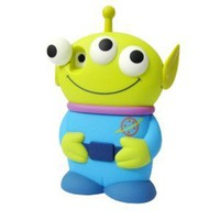 Disney 3D 3 Eyes Toy Story Alien Movable Eye Hard Case Protector Shield Cover Iphone 4/4S Gift -Blue