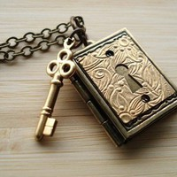 Book Locket Necklace, Antiqued Brass,  Keyhole, Skeleton Key, Pendant Necklace, Steampunk Jewelry