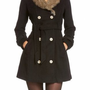 Amazon.com: 2B Fur Collar Wool Trench Coat 2b Outerwear Blk-m: Clothing