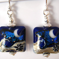 Dark Blue Earrings, Sterling Silver Dichroic Cobalt Blue Lampwork Earrings, Ocean Moon Earrings