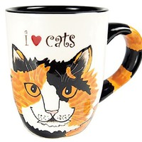 Pavilion Rescue Me Now Calico Cat Mug, Sunshine, 12-Ounce, 4-1/4-Inch