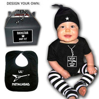 BABY or TODDLER ROCKSTAR kit gift set Onesuit Leg by lowleepop