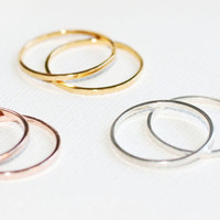 Single GOLD - Smooth Texture - Stackable Ring (STERLING SILVER)