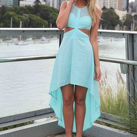 Blue Chiffon Hi-Lo Dress with Cutout Detail&amp;Sweetheart Neck