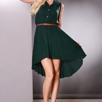Forest Green High Low Hem Button Up Collar Dress @ Amiclubwear sexy dresses,sexy dress,prom dress,summer dress,spring dress,prom gowns,teens dresses,sexy party wear,women's cocktail dresses,ball dresses,sun dresses,trendy dresses,sweater dresses,teen clot