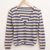 Wonderful Cotton Blend Stripe Blue Jackets : Wholesaleclothing4u.com