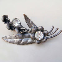 Vintage Silver Flower Leaf Brooch Made In Austria