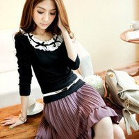 Fancy Small Pleat Purple Ladies Hot Sale Skirts : Yoco-fashion.com