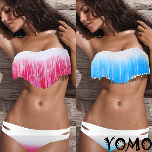 SEXY Multicolor Padded Boho Fringe Strapless Dolly Bikini Swimwear Bathing Suit