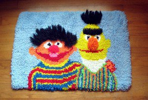 Vintage Bert and Ernie Latch Hook Rug - Great for Child's Room!