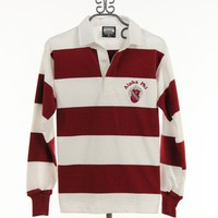 Alpha Phi Rugby Shirt in Maroon and White