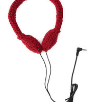 CROCHETED HEADPHONES - CRANBERRY | Crochet, Handmade, Speakers, Music, Colorful, Stylish, Traci Medeiros-Bagan, | UncommonGoods