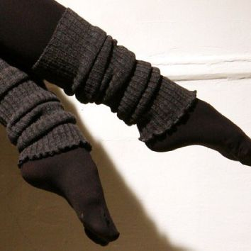 New York City Black Thigh High 28 Inch Leg Warmers by KD dance, Stretch Knit, Ruffled Top, Made In New York City USA