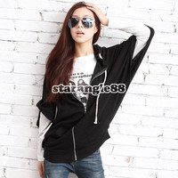 New Fashion Korean Style Women Batwing Hoodie Cardigan Jacket Coat Black SA88