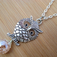 Large Retro Owl Peachy Pink Crackle Glass Marble Necklace