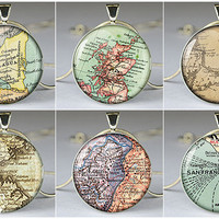custom map pendant, custom map resin pendant, custom map necklace pendant,vintage custom map jewelry pendant- Z05