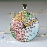 vintage New york map photo charm,necklace pendants,old map pendant charms,art resin pendant- M0064CP