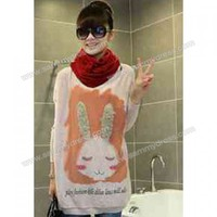 Sweet Style Round Neck Cute Rabbit Print Long Sleeve Loose Fit Knitwear For Women
