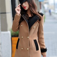 Stylish Double Breasted Women Woolen Trench Coat Light Tan  -  BuyTrends.com