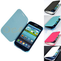 New PU Leather Flip Case Cover for Samsung Galaxy S 3 III S3 i9300 (4 Colors)