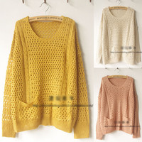 Womens Pocket Batwing Hollow Round Neck Knits Pullover Jumper Casual Sweater Phh