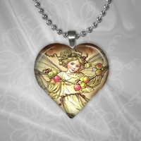 Christmas Angel Heart Shaped Glass Pendant