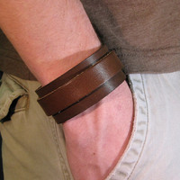 Leather bracelet  Overlapping leather bracelet by backerton