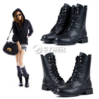 Fashion Women's Black PUNK Military Army Knight Lace-up Short Boots Shoes DZ88