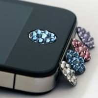 Amazon.com: one piece blue Bling Rhinestone iPhone Home Button Sticker in clear plastic bag: Cell Phones &amp; Accessories