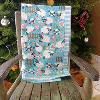 SALE Sheep Baby Quilt Blanket